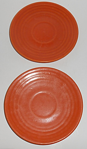 Vintage Bauer Pottery Ring Ware 1st Period Pair Orange