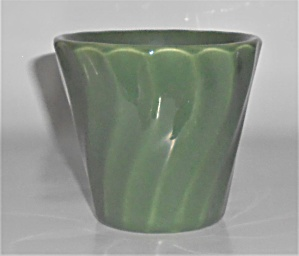 Bauer Pottery 3'' Olive Green Swirl Flower Pot
