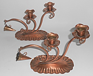 Gregorian Hammered Copper Pr 421 Double Candlestick