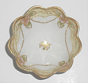 Early Noritake China Porcelain Floral W/gold Tri-footed