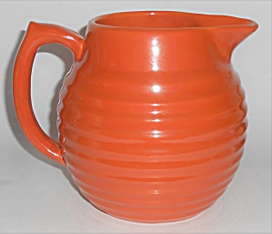 Bauer Pottery Ring Ware Orange 2 Quart Pitcher