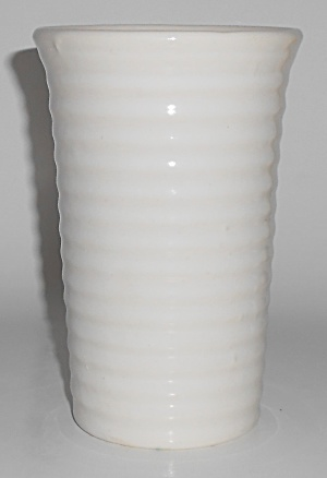Bauer Pottery Ring Ware Gloss White 6-1/4'' Cylinder Va