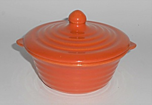 Bauer Pottery Ring Ware Orange Baking Dish W/lid