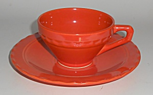 Vernon Kilns Pottery Coronado Orange Cup & Saucer Set