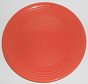 Vintage Bauer Pottery Early Ring Ware Orange Chop Plate (Image1)