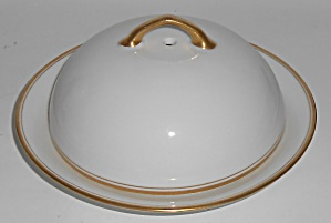 Austria Victoria Porcelain China Gold Band Butter Dish