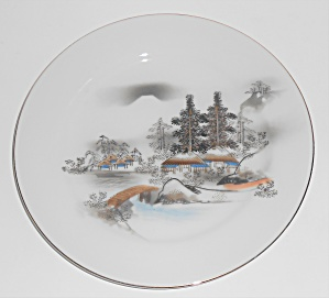 Kutani China Porcelain Gold Countryside Mt Fuji Trees R