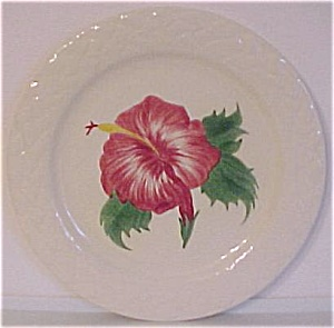 "Pacific Pottery 9-7/8"" Decorated Hibiscus Plate (Image1)"