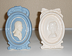 Pacific Pottery Pr White/blue Cameo Planters