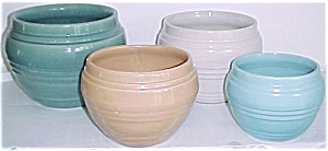 "Pacific Pottery 7-1/2"" Seafoam Banded Jardiniere"