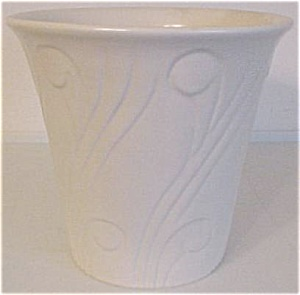 "Pacific Pottery Art Deco 6.75"" White Flowerpot"