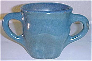 GORGEOUS 2-HANDLE BLUE ART POTTERY VASE! (Image1)