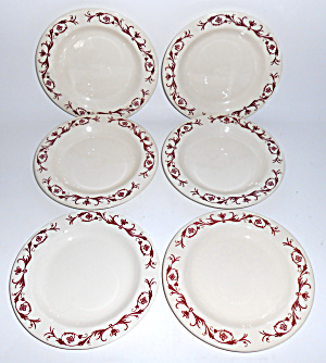 Pacific Pottery Set/5 Red Floral Decal Plates!  MINT (Image1)