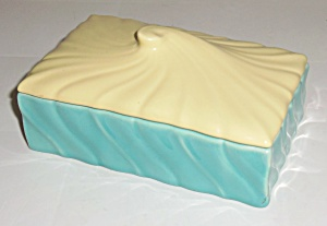 Franciscan Pottery Coronado Glacial Blue/yellow Cig Box