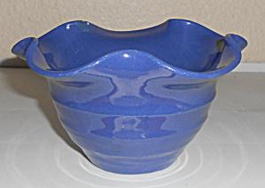 Bauer Pottery Matt Carlton Cobalt Ruffled Rim Art Bowl! (Image1)