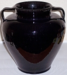 MISSION POTTERY BLACK 2-HANDLE WHEEL THROWN VASE!