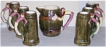 Click to view larger image of TWIN WINTON POTTERY 7-PC HILLBILLY PITCHER/TANKARD SET! (Image1)