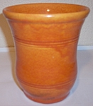 Click to view larger image of PACIFIC POTTERY EARLY WHEEL THROWN ORANGE RING VASE! (Image1)
