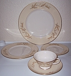 FRANCISCAN POTTERY FINE CHINA ACACIA 5-PC PLATE SETTING