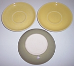 WINFIELD CHINA POTTERY EARLY YELLOW/GREEN SET/3 SAUCERS