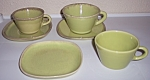 WINFIELD CHINA POTTERY EARLY YELLOW/GREEN SET/6 PIECES!