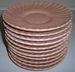 FRANCISCAN POTTERY CORONADO SATIN CORAL SET/11 SAUCERS!