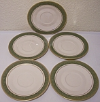 FRANCISCAN POTTERY FINE CHINA SET/5 ANTIQUE GREEN SAU!