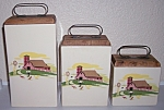 BAUER POTTERY VERY RARE DECORATED CANISTER SET W/LID!