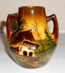 Click to view larger image of Schramberg Pottery Majolika Decorated Farm Scene Vase! (Image1)