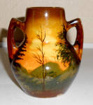 Click to view larger image of Schramberg Pottery Majolika Decorated Farm Scene Vase! (Image2)