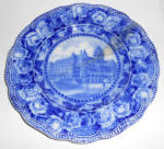 Click to view larger image of England Flow Blue China Washington Hotel Seattle Plate! (Image1)