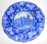 Click to view larger image of England Flow Blue China Washington Hotel Seattle Plate! (Image2)