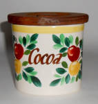 Click to view larger image of Bauer Pottery Fruit Decorated Cocoa Jar W/Lid! (Image1)