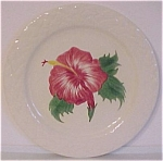 "Pacific Pottery 9-7/8"" Decorated Hibiscus Plate"