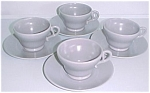 FRANCISCAN POTTERY EL PATIO 4 GREY CUPS/SAUCERS
