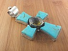 David Troutman  Turquoise Citrine Sterling Silver Pend