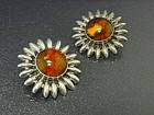 Baltic Amber Sterling Silver Large Clip Earrings