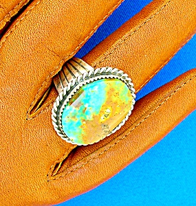 Navajo Turquoise Sterling Silver Ring Signed Tommy Ross (Image1)