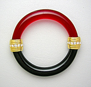 Swarovski Crystals Red Black Lucite Bangle Bracelet (Image1)