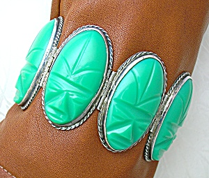 Mexico Silver Green Glass Oval Large Links Bracelet (Image1)