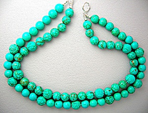 Necklace Turquoise Carved and Round 13mm 2 Strand (Image1)