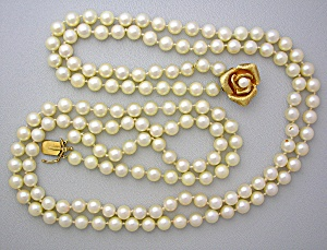 Necklace Cultured Pearls 14K Gold Rose Clasp 2 Strand (Image1)