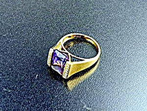 Ring 18K Gold 5 Ct Amethyst 36 Pts Diamonds (Image1)