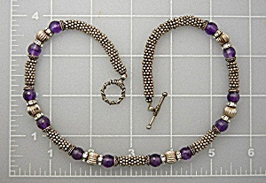 Necklace Sterling Silver Amethyst & Crystals (Image1)