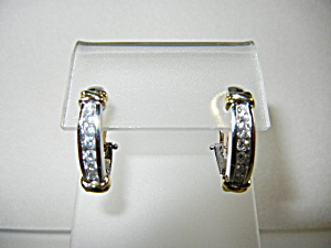 Earrings 14K White Yellow Gold 1Ct Diamond Omega Clip (Image1)