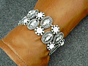 Costume Bling Rhinestone Stretch Grey Glass Bracelet
