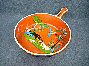 Mexican Pottery Tlaquepaque Hand Decorated Skillet (Image1)