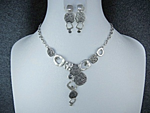 Costume Necklace And Earrings Grey Glass Silver Tone