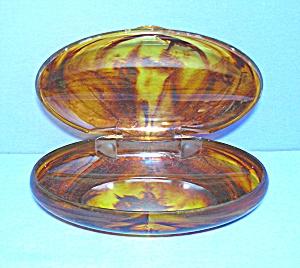 Lucite  Plastic Tortoise Hinged Vanity  Box (Image1)