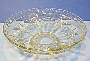 Footed Pressed Glass Vintage Fruit Bowl . . (Image1)